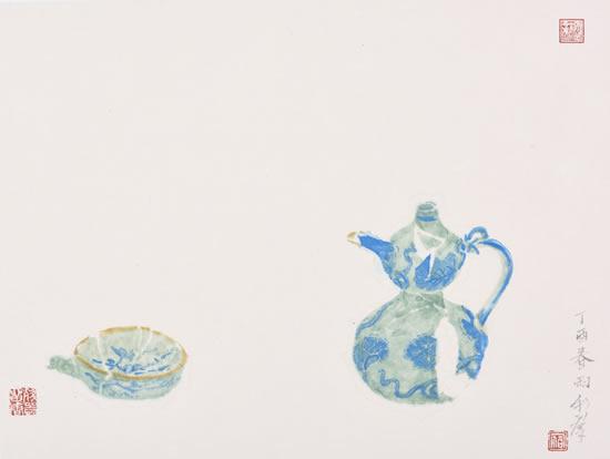 元青花月梅纹杯 永乐青花葫芦形壶 纸本水墨 纵三四厘米 横四五厘米 二ling一七年