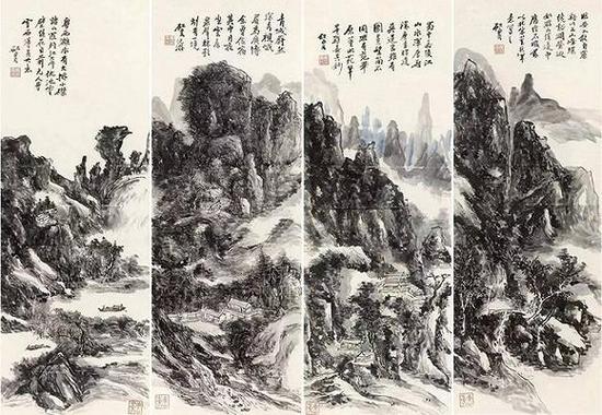《江山卧游图》四条屏