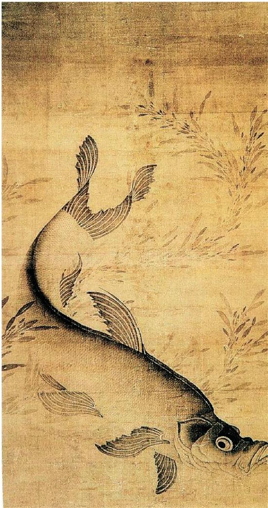元 赖庵 藻鱼图 立轴 绢本水墨 89.6×48.3cm 美国波士顿艺术博物馆藏