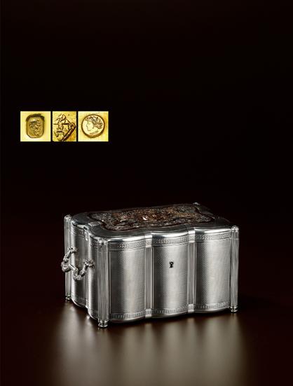 2017西泠春拍  精美中国风格纯银茶叶盒 年代:法国 约1820 年 材质:950 纯银 950 纯银镀金