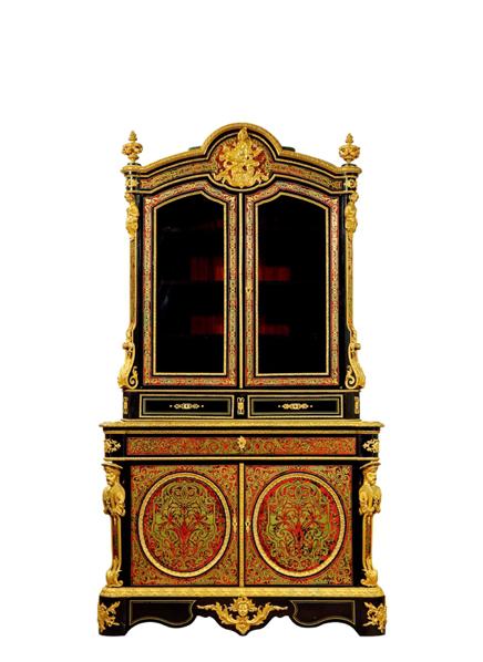 2017西泠春拍  拿破仑三世珍贵材质镶嵌铜鎏金书柜 年代:法国 约1880 年 长:140cm 宽:58cm 高:235cm