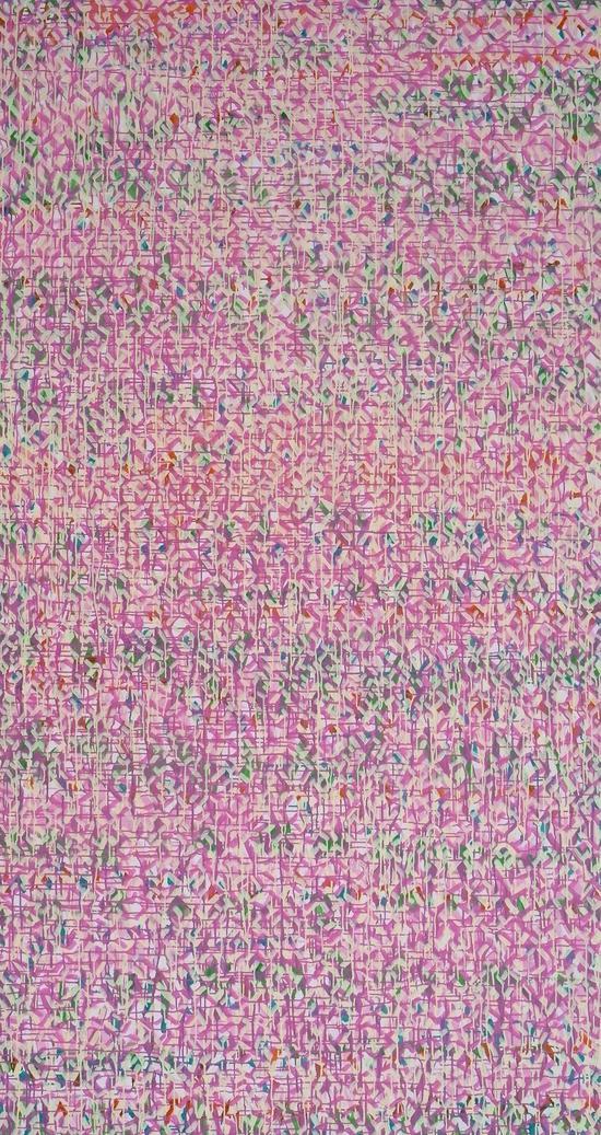 不断重复的点线130520  300X150CM  布面丙稀 2013