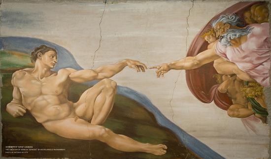 米开朗基罗作品《创世纪》之创造亚当