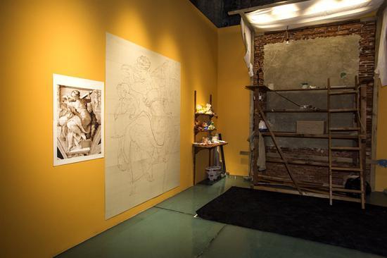 意大利国宝级湿壁画大师安东尼奥·德维托现场作画区域