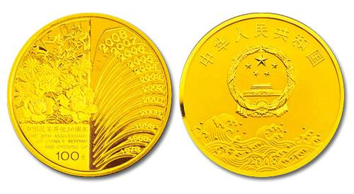 1/4盎司圆形金质纪念币