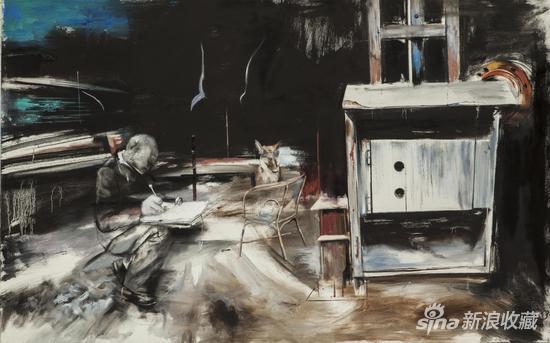 《写作的列宁和喘息的狗》 150x100 cm 2013