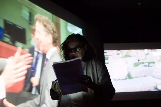 Angela Melitopoulos, Crossings, 2017, two-screen presentation with live sound, Greek Film Archive (Tainiothiki), Athens, documenta 14, photo: Angelos Giotopoulos
