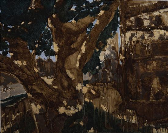 雷璨铭《古树下的碉楼》80乘100CM 布面油画 2017