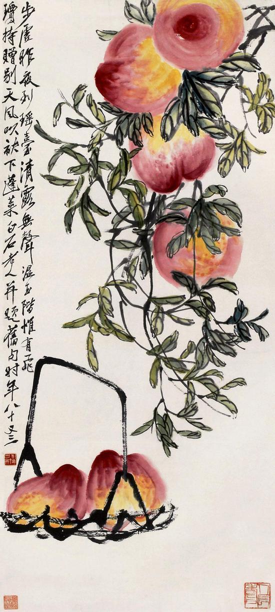 齐白石花鸟画寿桃