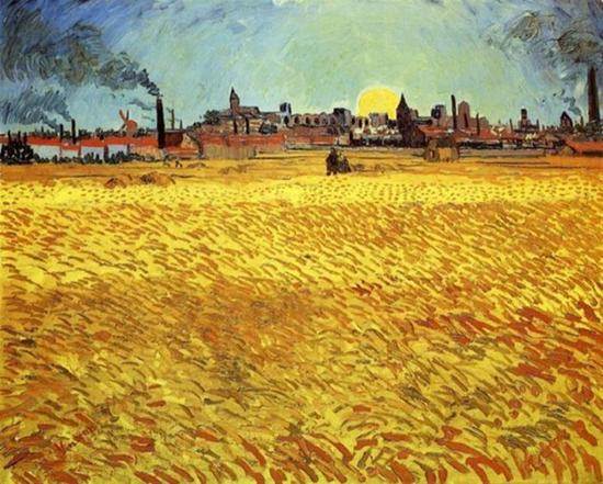 梵高 Van Gogh Vincent - Summer Evening Wheatfield with Setting Sun