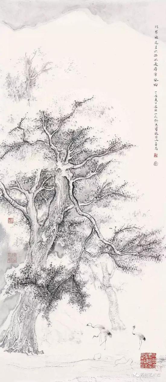 李勇 不是平常景物 纸本水墨 68×29cm 2017 年