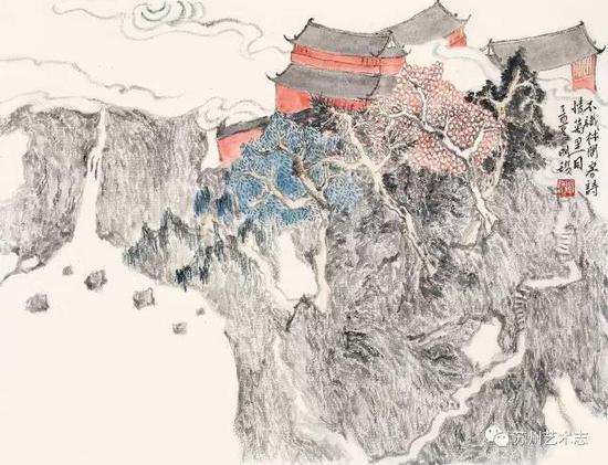 明瓒 深山藏古寺册之一 纸本设色 44.5×32cm 2017 年