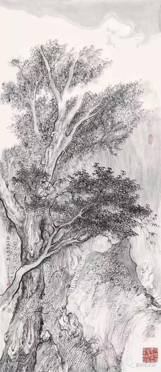 李勇 深谷流水听子期 纸本水墨 68×29cm 2017 年