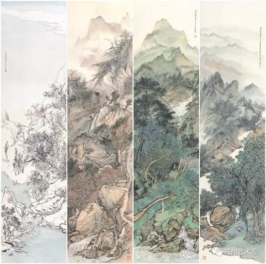 李勇 春、夏、秋、冬 纸本设色 133×33cm×4 2017 年