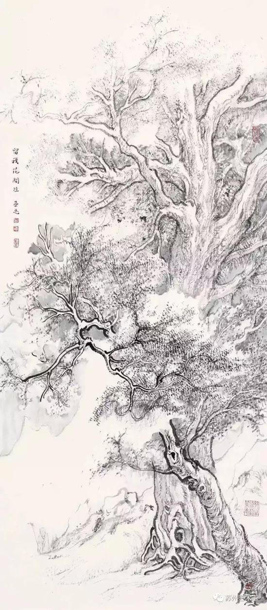 李勇 留我花间住 纸本水墨 68×29cm 2017 年