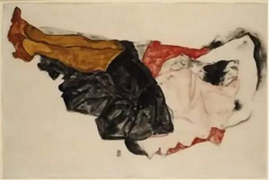 纳粹艺术品 席勒,遮脸的女子,1912