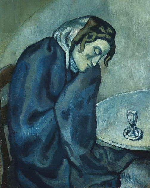 伯尔尼美术馆所藏毕加索《昏昏欲睡的饮酒女》