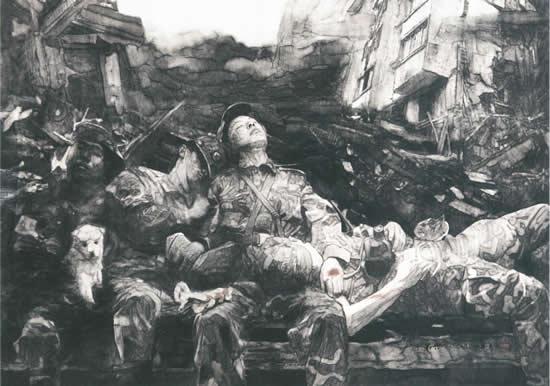 子弟兵  180cmx120cm  2009年入选十一届全国美展  水墨