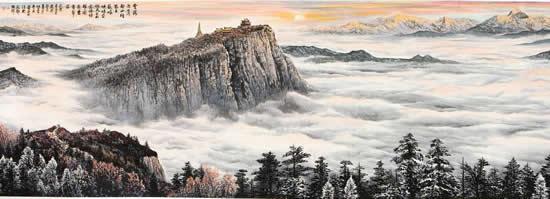 《峨嵋云海》430X130cm 2013年 纸本