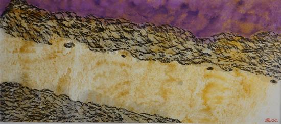《康定风情-城郊的康定河风景2》,纸本设色,2017年,69cm×23cm