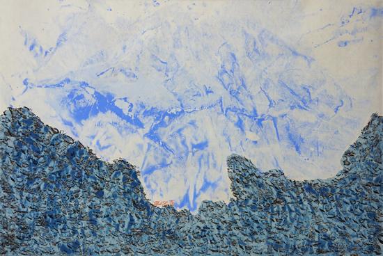 《康定风情?折多山印象1》,纸本设色,2017年,69cm×33cm