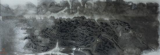《墨韵贡嘎-冲和之气》,纸本水墨,2016年,69cm×24cm