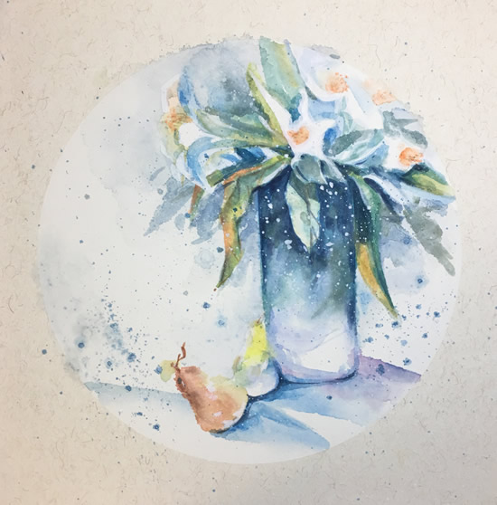 《水彩花卉》系列作品33X33cm纸本6