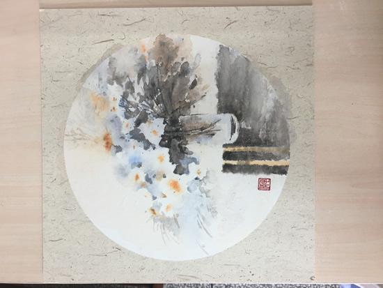《水彩花卉》系列作品33X33cm纸本8