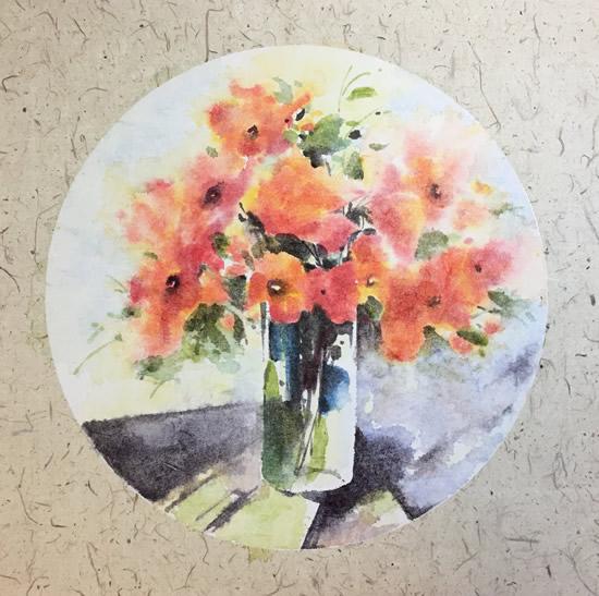 《水彩花卉》系列作品33X33cm纸本4