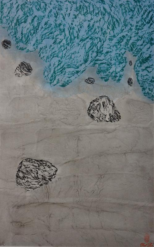 《康定风情-折多河沿岸风光1》,纸本设色,2017年,34cm×45cm