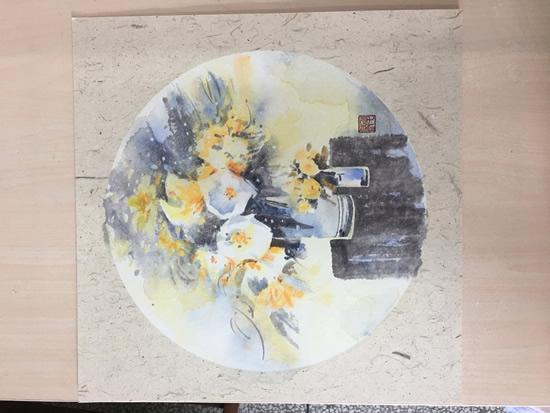 《水彩花卉》系列作品33X33cm纸本2
