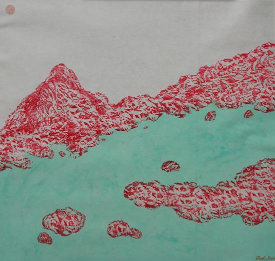 《康定风情-两岔河印象2》,纸本设色,2017年,69cm×50cm