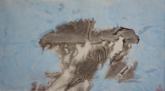 《风起云涌系列-云海幻境1》,纸本设色,2016年,69cm×23cm