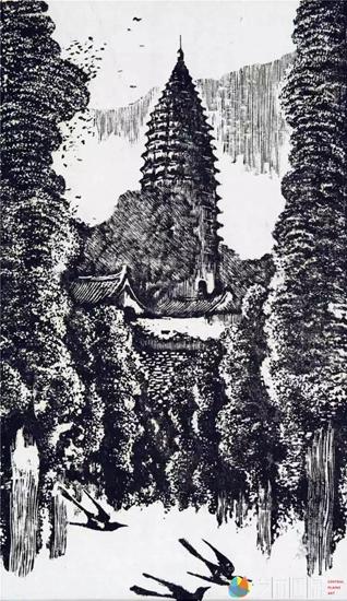 沙清泉《嵩岳北魏砖塔》31×18cm    1982年 黑白木刻