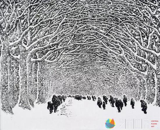 沙清泉《绿城飞雪》20×24.7cm    1983年 黑白木刻