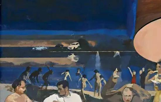 Detail from All night long, Michael Andrews, 1963-64 (Collection: National Gallery of Victoria)
