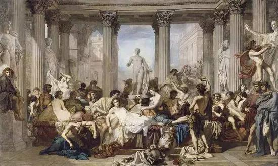 Romans during the Decadence, Thomas Couture, 1847 (Collection: Musee d'Orsay)