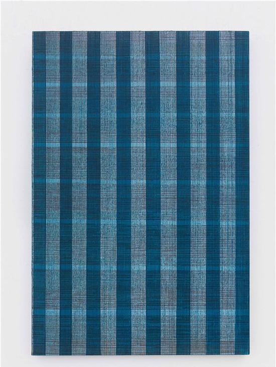 迟群-《八条线-灰红蓝》-150×100cm-布面油画-2017