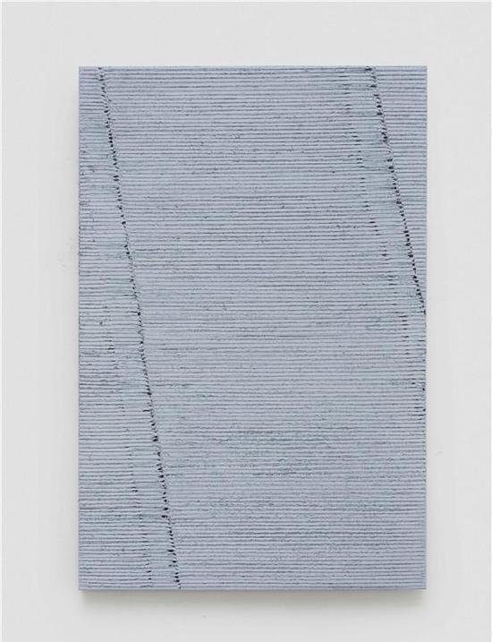 迟群-《两条线-浅灰》-150×100cm-布面油画-2016