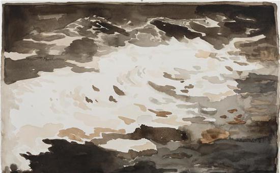王敏-《海浪拍岸》38.5×57cm×8-纸本水彩-2016  (8)