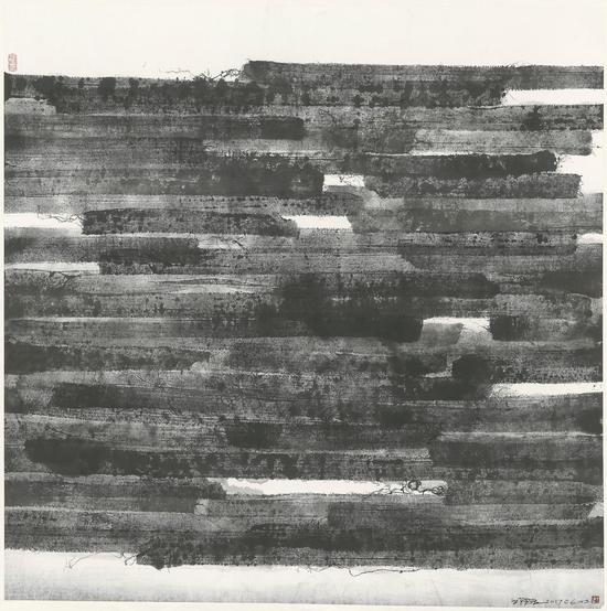 墙20170603,纸本水墨拓印,123×123cm,2017年