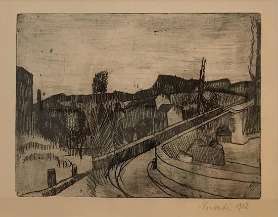 博洛尼亚萨韦纳河上的桥,版画,1912