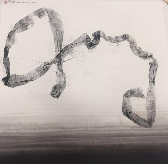 痕·象161020,纸本水墨拓印,69×69cm,2016年