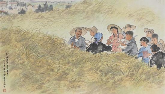 红在农中专在农中 纸本 58×101 1960 中国美术馆藏