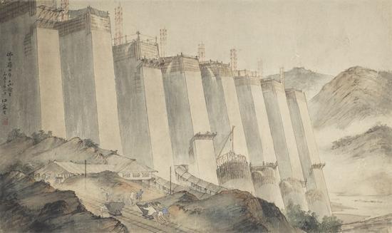 佛子岭水库工地写生 纸本 61×102 1953 中国美术馆藏