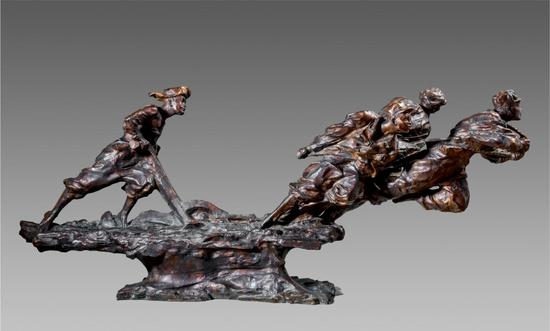 李永康《不能忘却的记忆》,120×50×30cm,雕塑,2014