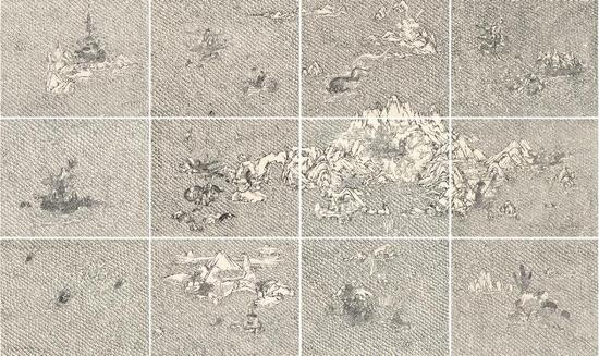 王启凡《天问系列墨印板》,195×328cm,版画,2015