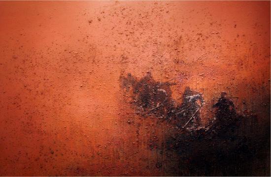 王维《红色记忆》,200×300cm,丙烯综合材料,2013