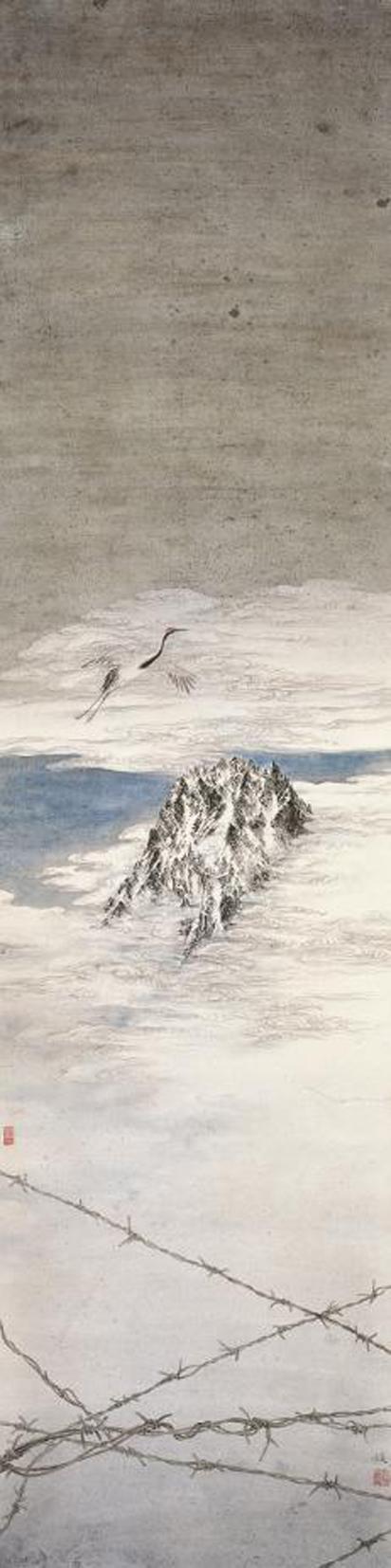 姚媛《隐遁》,132×33cm,中国画,2010