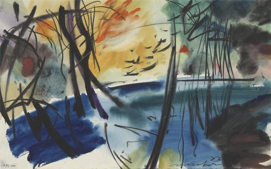 Ramapo Rive 河风景Series_36.8?58.4_watercolor on paper_1983